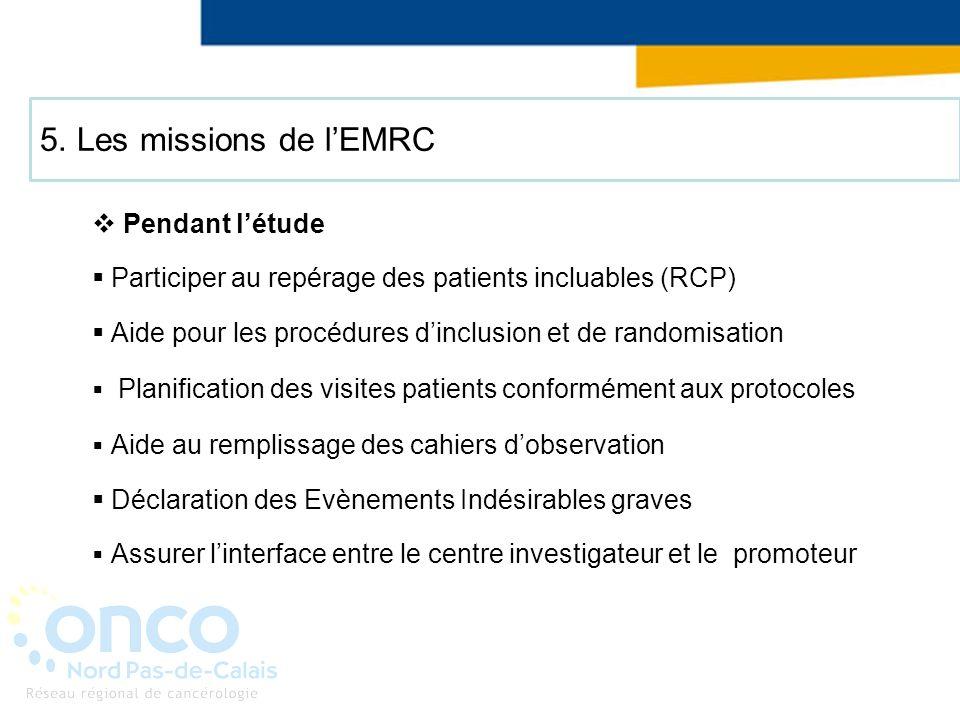 5. Les missions de lEMRC Pendant létude Participer au repérage des patients incluables (RCP) Aide pour les procédures dinclusion et de randomisation P