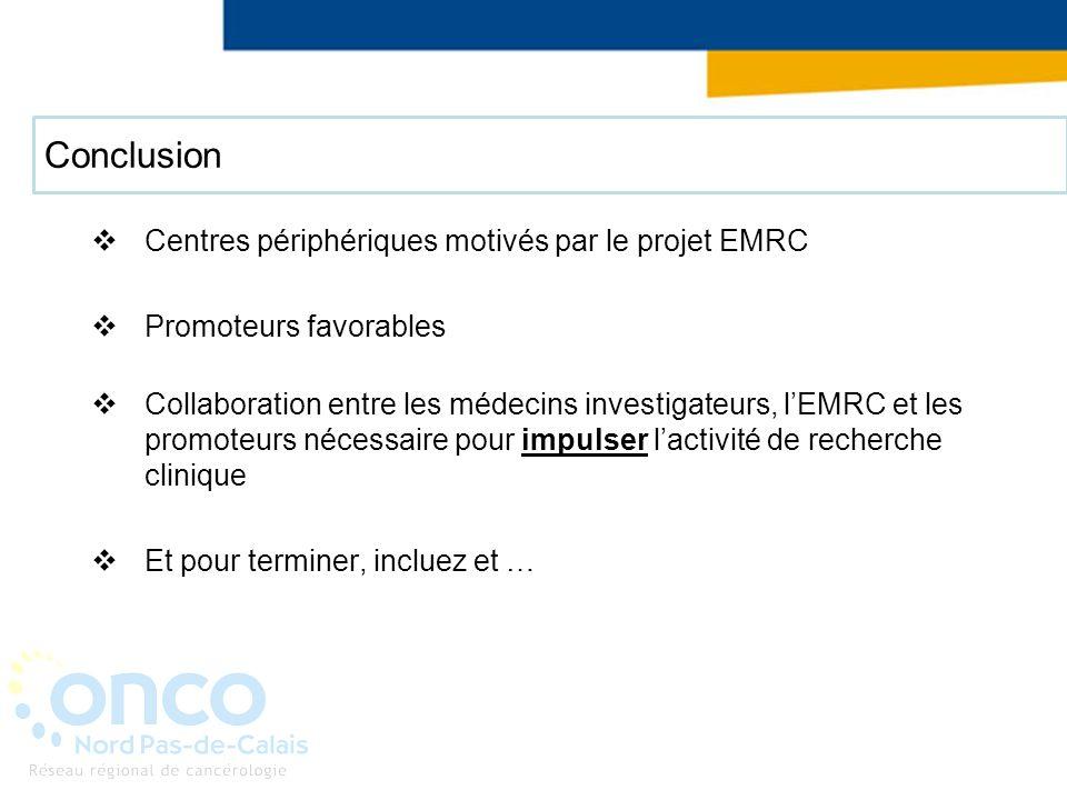 Conclusion Centres périphériques motivés par le projet EMRC Promoteurs favorables Collaboration entre les médecins investigateurs, lEMRC et les promot