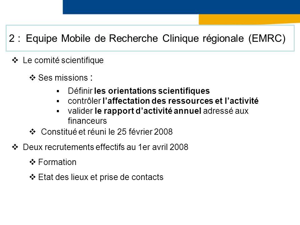Le comité scientifique Ses missions : Constitué et réuni le 25 février 2008 Deux recrutements effectifs au 1er avril 2008 Formation Etat des lieux et