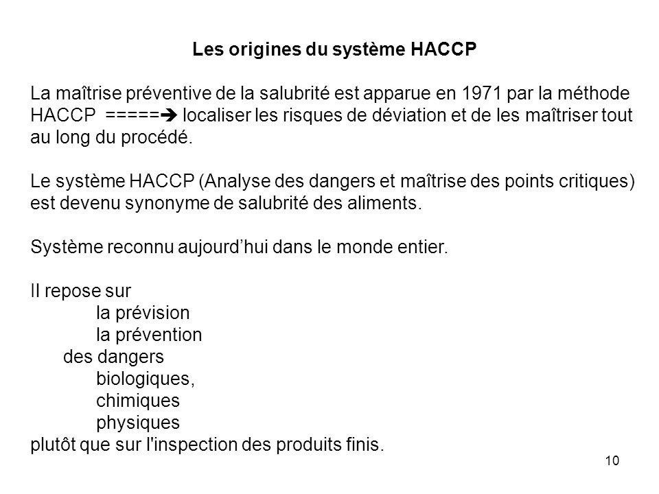 10 Les origines du système HACCP La maîtrise préventive de la salubrité est apparue en 1971 par la méthode HACCP ===== localiser les risques de déviat