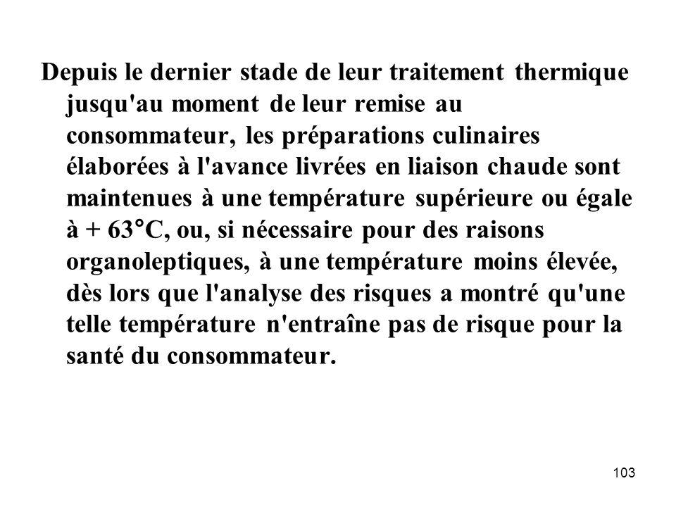 103 Depuis le dernier stade de leur traitement thermique jusqu'au moment de leur remise au consommateur, les préparations culinaires élaborées à l'ava