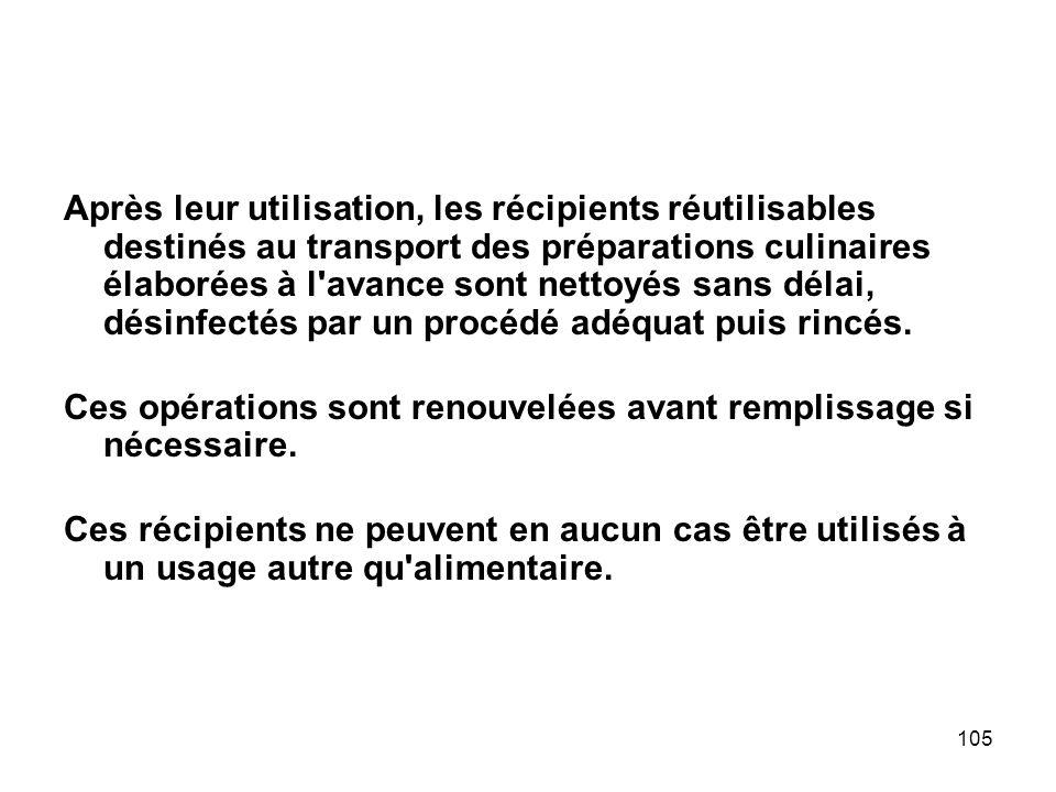105 Après leur utilisation, les récipients réutilisables destinés au transport des préparations culinaires élaborées à l'avance sont nettoyés sans dél