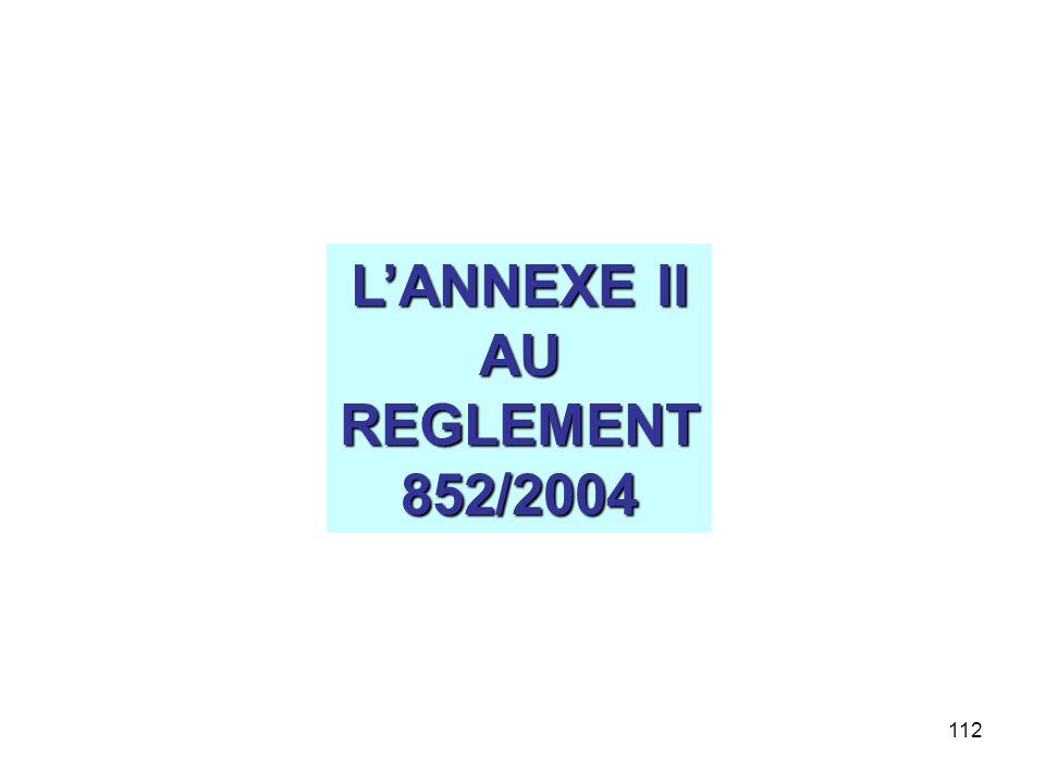 112 LANNEXE II AUREGLEMENT852/2004