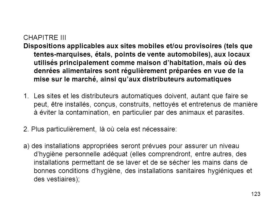 123 CHAPITRE III Dispositions applicables aux sites mobiles et/ou provisoires (tels que tentes-marquises, étals, points de vente automobiles), aux loc