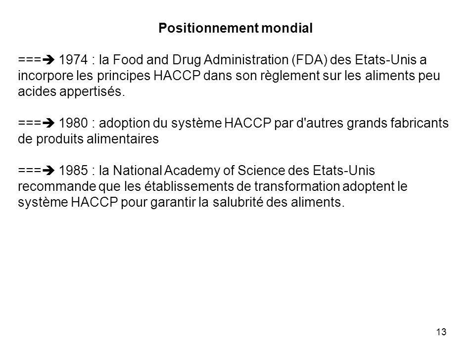 13 Positionnement mondial === 1974 : la Food and Drug Administration (FDA) des Etats-Unis a incorpore les principes HACCP dans son règlement sur les a