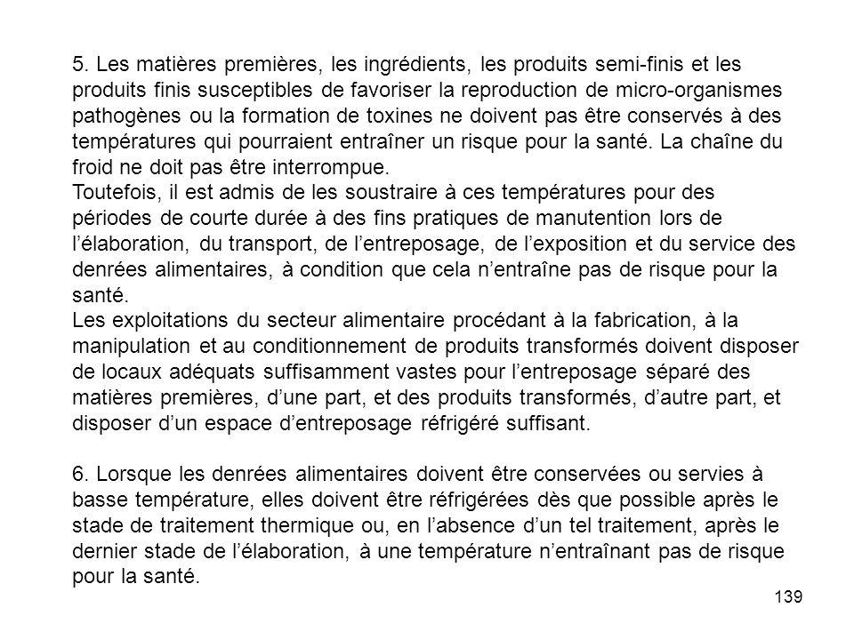 139 5. Les matières premières, les ingrédients, les produits semi-finis et les produits finis susceptibles de favoriser la reproduction de micro-organ