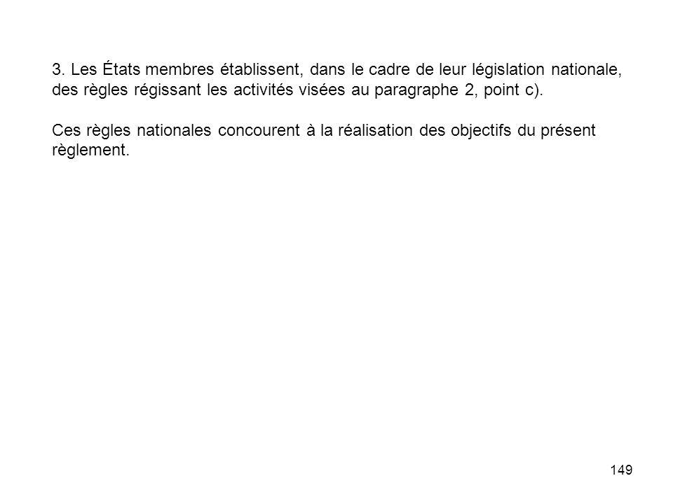149 3. Les États membres établissent, dans le cadre de leur législation nationale, des règles régissant les activités visées au paragraphe 2, point c)