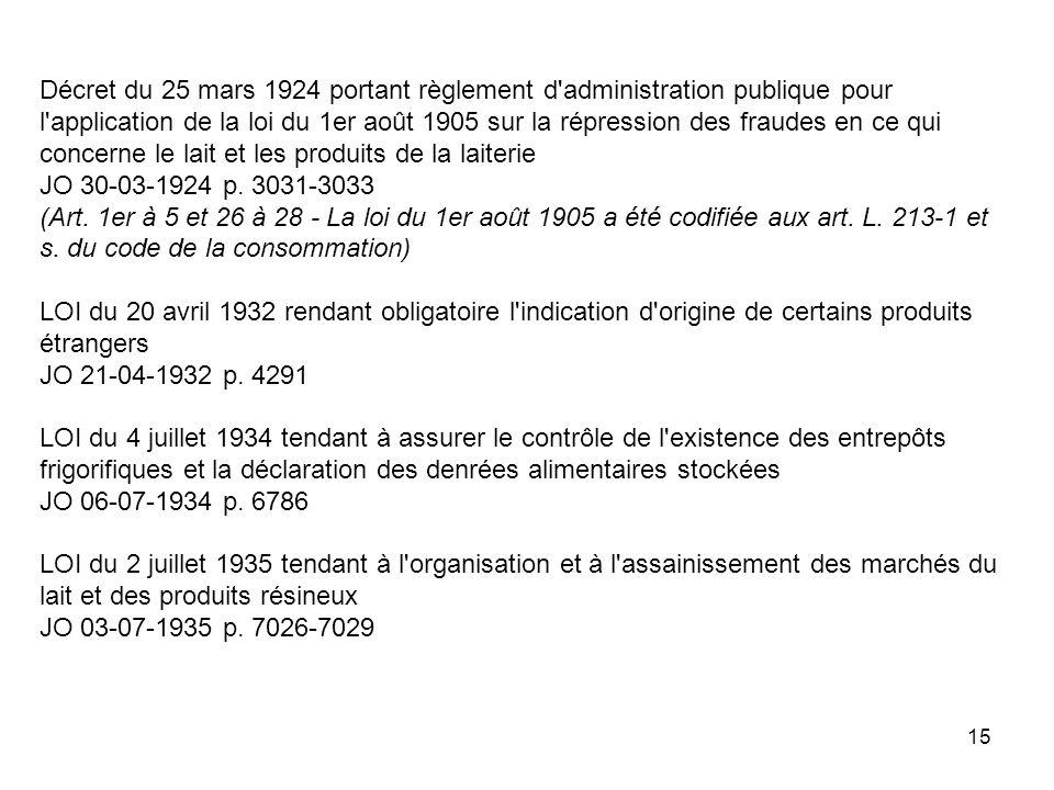 15 Décret du 25 mars 1924 portant règlement d'administration publique pour l'application de la loi du 1er août 1905 sur la répression des fraudes en c