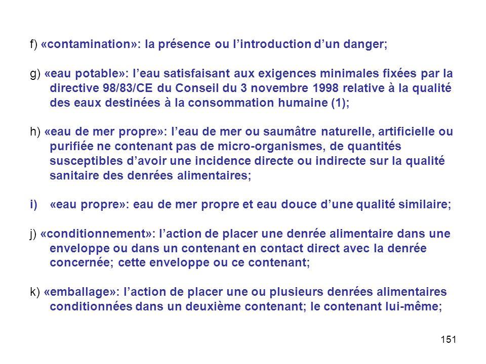 151 f) «contamination»: la présence ou lintroduction dun danger; g) «eau potable»: leau satisfaisant aux exigences minimales fixées par la directive 9