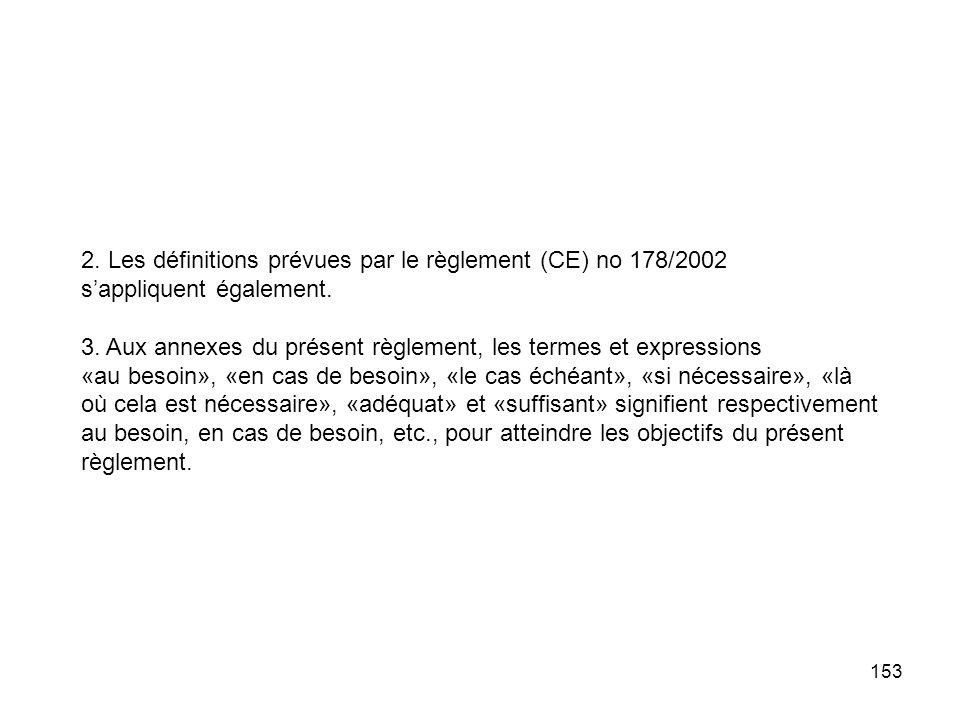 153 2. Les définitions prévues par le règlement (CE) no 178/2002 sappliquent également. 3. Aux annexes du présent règlement, les termes et expressions