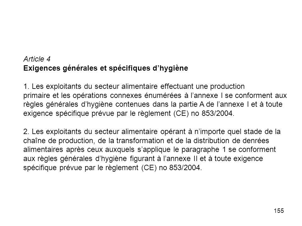 155 Article 4 Exigences générales et spécifiques dhygiène 1. Les exploitants du secteur alimentaire effectuant une production primaire et les opératio