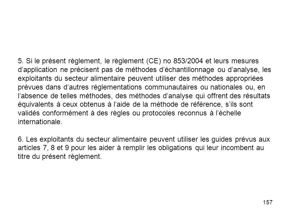 157 5. Si le présent règlement, le règlement (CE) no 853/2004 et leurs mesures dapplication ne précisent pas de méthodes déchantillonnage ou danalyse,