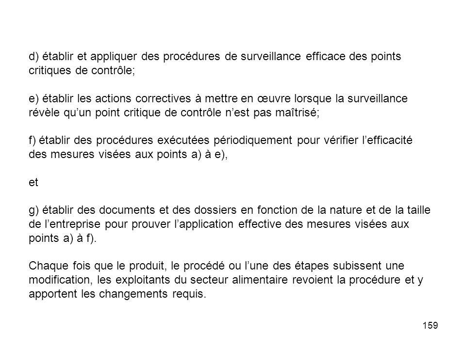 159 d) établir et appliquer des procédures de surveillance efficace des points critiques de contrôle; e) établir les actions correctives à mettre en œ