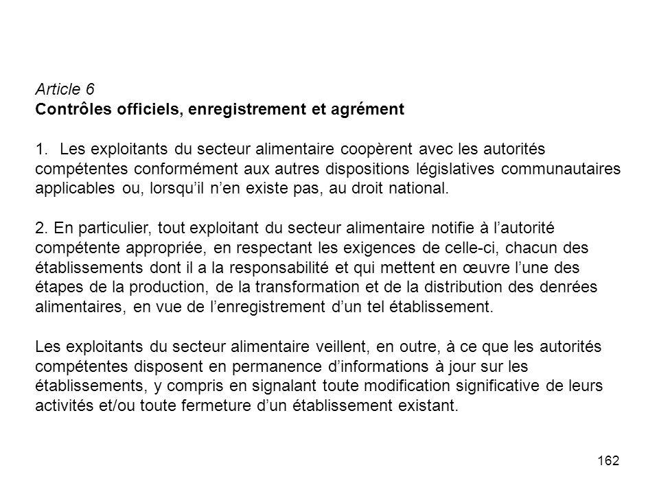 162 Article 6 Contrôles officiels, enregistrement et agrément 1.Les exploitants du secteur alimentaire coopèrent avec les autorités compétentes confor