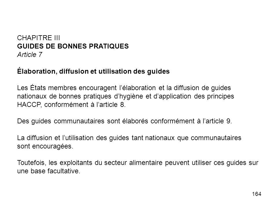 164 CHAPITRE III GUIDES DE BONNES PRATIQUES Article 7 Élaboration, diffusion et utilisation des guides Les États membres encouragent lélaboration et l