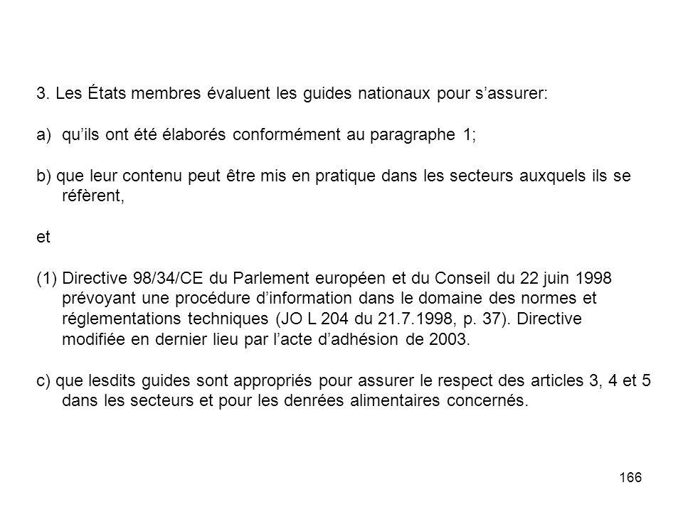 166 3. Les États membres évaluent les guides nationaux pour sassurer: a)quils ont été élaborés conformément au paragraphe 1; b) que leur contenu peut