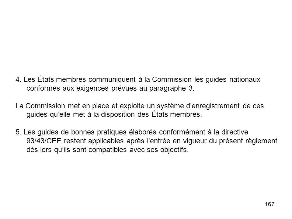 167 4. Les États membres communiquent à la Commission les guides nationaux conformes aux exigences prévues au paragraphe 3. La Commission met en place