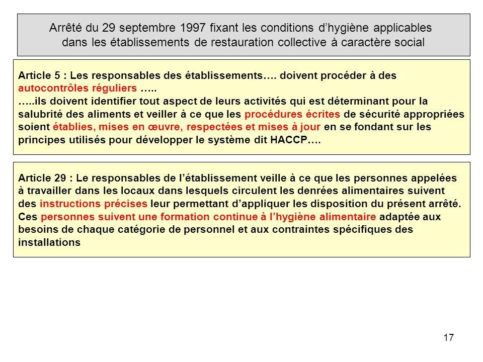 17 Arrêté du 29 septembre 1997 fixant les conditions dhygiène applicables dans les établissements de restauration collective à caractère social Articl