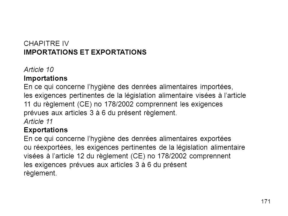 171 CHAPITRE IV IMPORTATIONS ET EXPORTATIONS Article 10 Importations En ce qui concerne lhygiène des denrées alimentaires importées, les exigences per