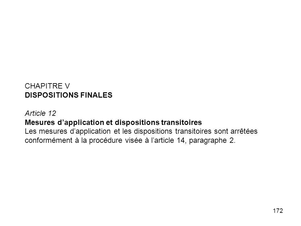 172 CHAPITRE V DISPOSITIONS FINALES Article 12 Mesures dapplication et dispositions transitoires Les mesures dapplication et les dispositions transito