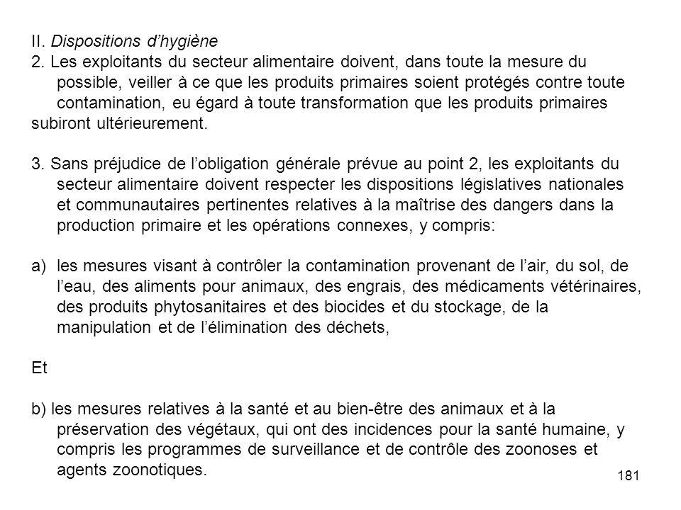 181 II. Dispositions dhygiène 2. Les exploitants du secteur alimentaire doivent, dans toute la mesure du possible, veiller à ce que les produits prima