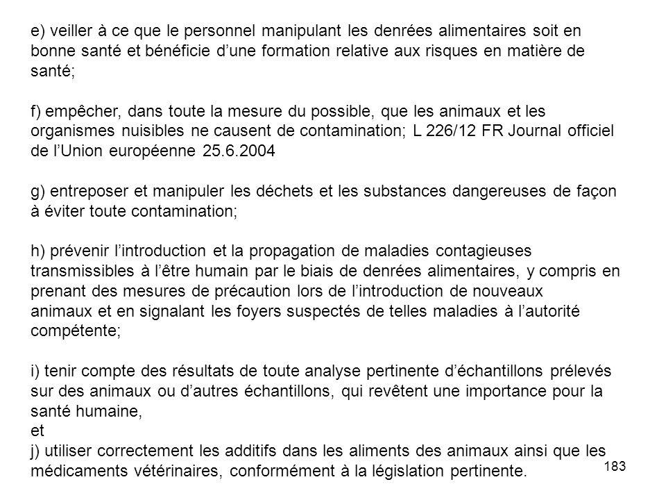 183 e) veiller à ce que le personnel manipulant les denrées alimentaires soit en bonne santé et bénéficie dune formation relative aux risques en matiè