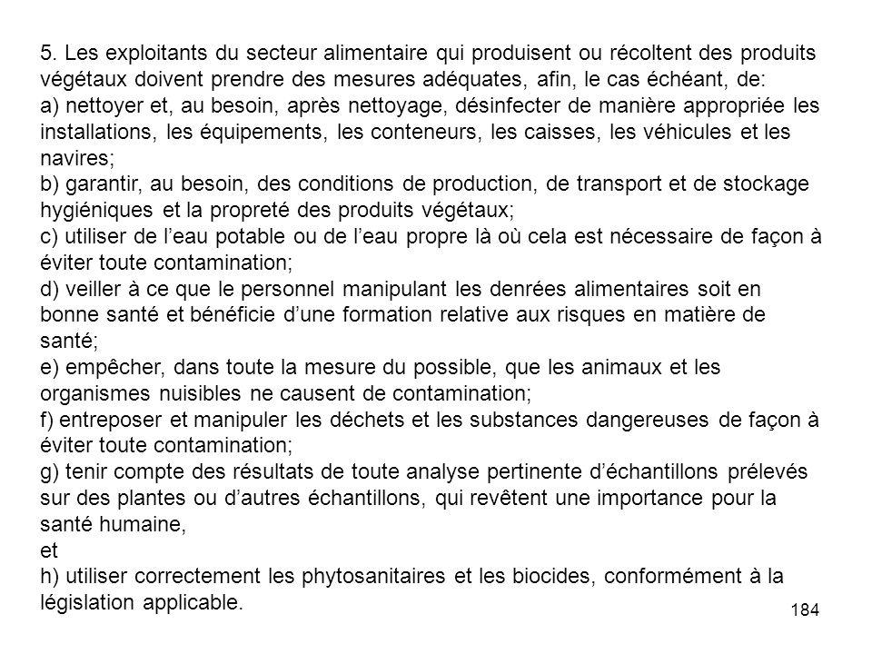 184 5. Les exploitants du secteur alimentaire qui produisent ou récoltent des produits végétaux doivent prendre des mesures adéquates, afin, le cas éc