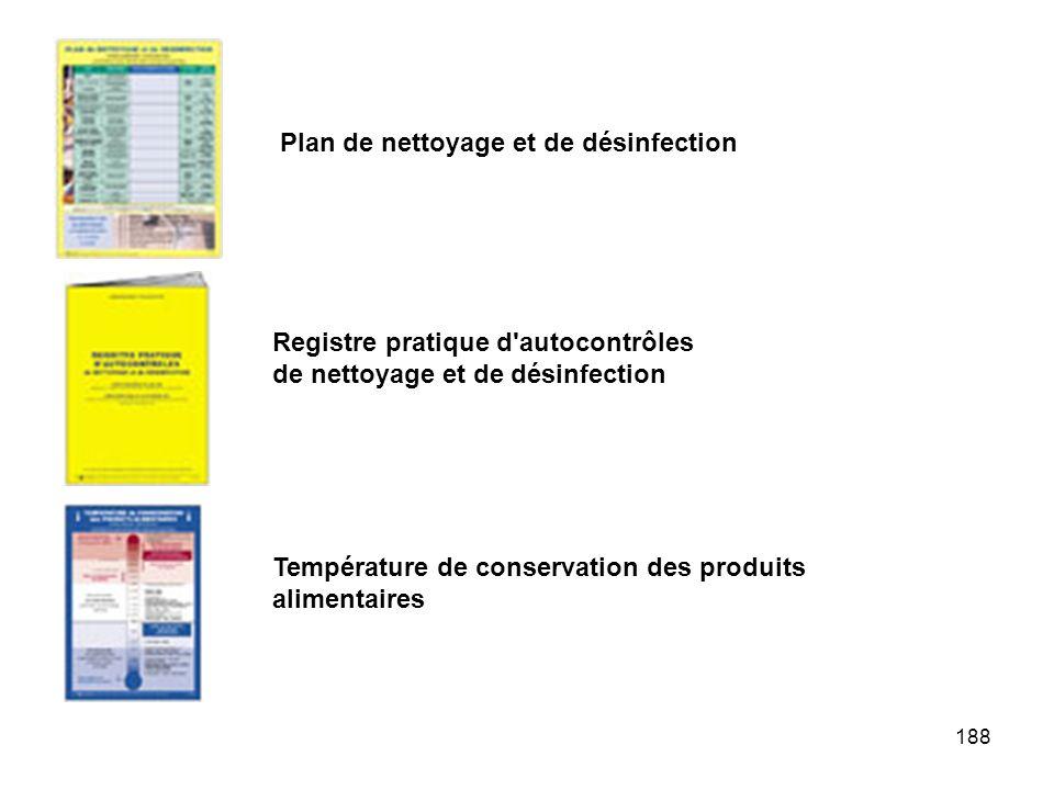 188 Plan de nettoyage et de désinfection Registre pratique d'autocontrôles de nettoyage et de désinfection Température de conservation des produits al