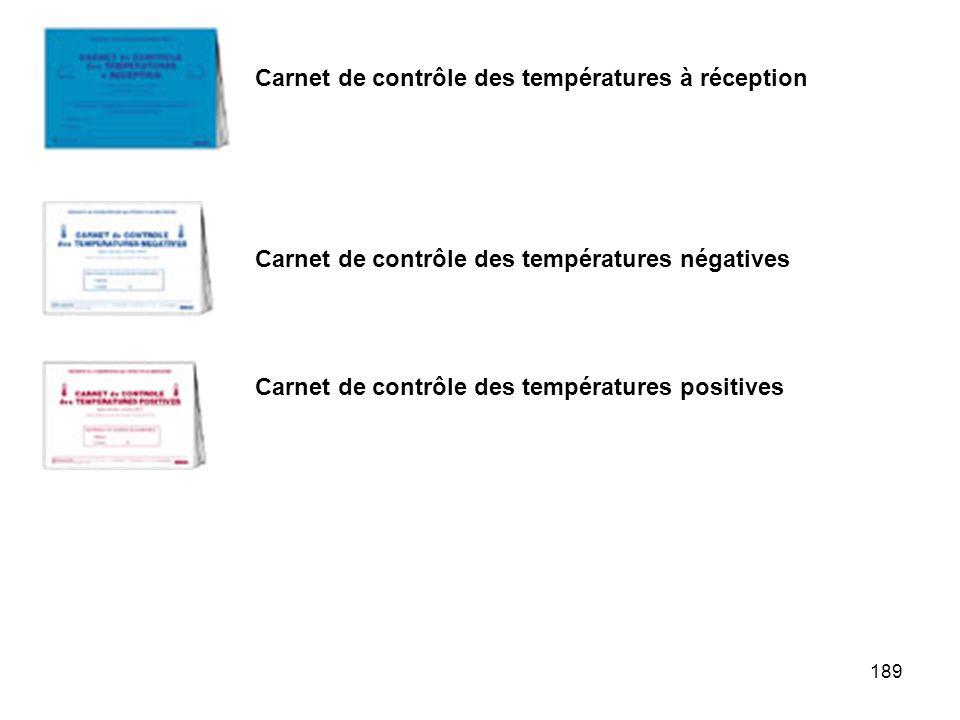 189 Carnet de contrôle des températures à réception Carnet de contrôle des températures négatives Carnet de contrôle des températures positives