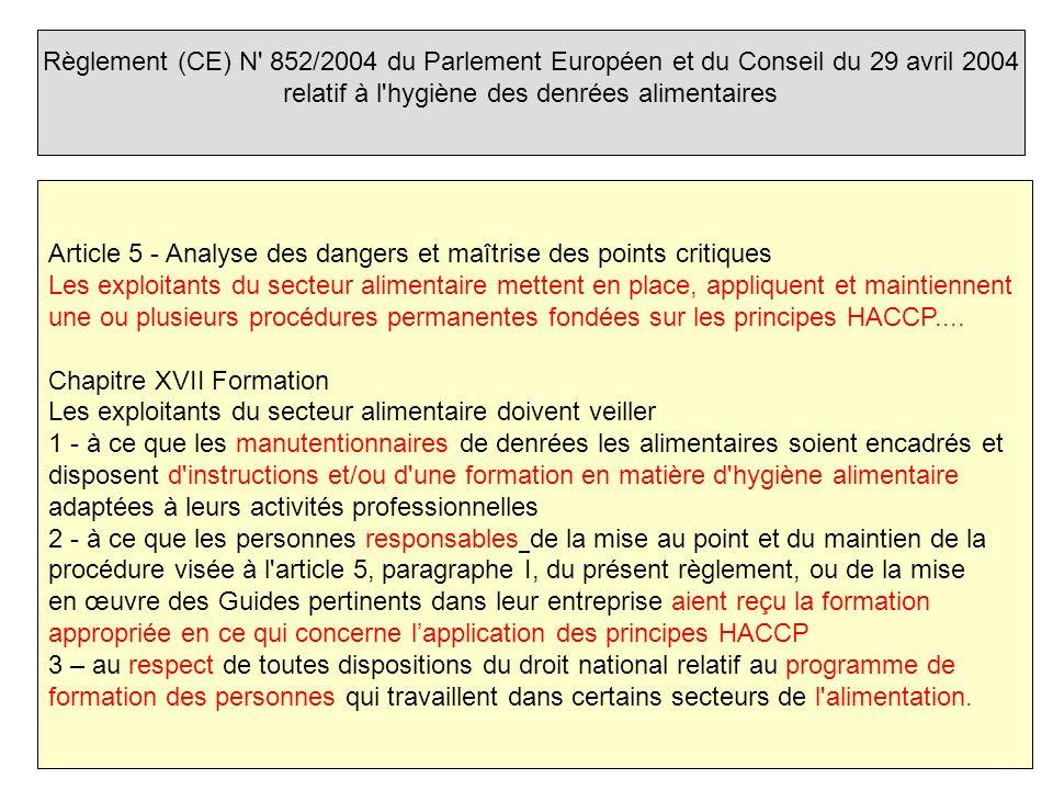 23 Règlement (CE) N' 852/2004 du Parlement Européen et du Conseil du 29 avril 2004 relatif à l'hygiène des denrées alimentaires Article 5 - Analyse de
