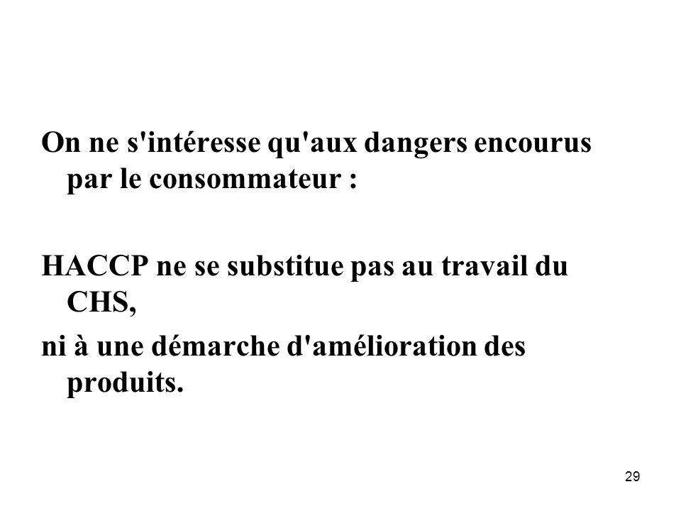 29 On ne s'intéresse qu'aux dangers encourus par le consommateur : HACCP ne se substitue pas au travail du CHS, ni à une démarche d'amélioration des p