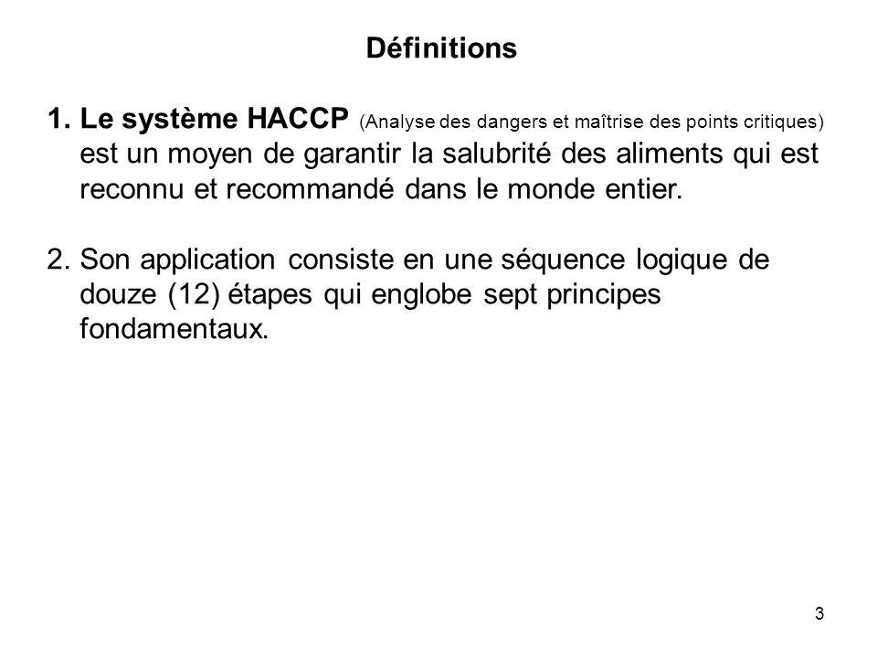 3 Définitions 1.Le système HACCP (Analyse des dangers et maîtrise des points critiques) est un moyen de garantir la salubrité des aliments qui est rec