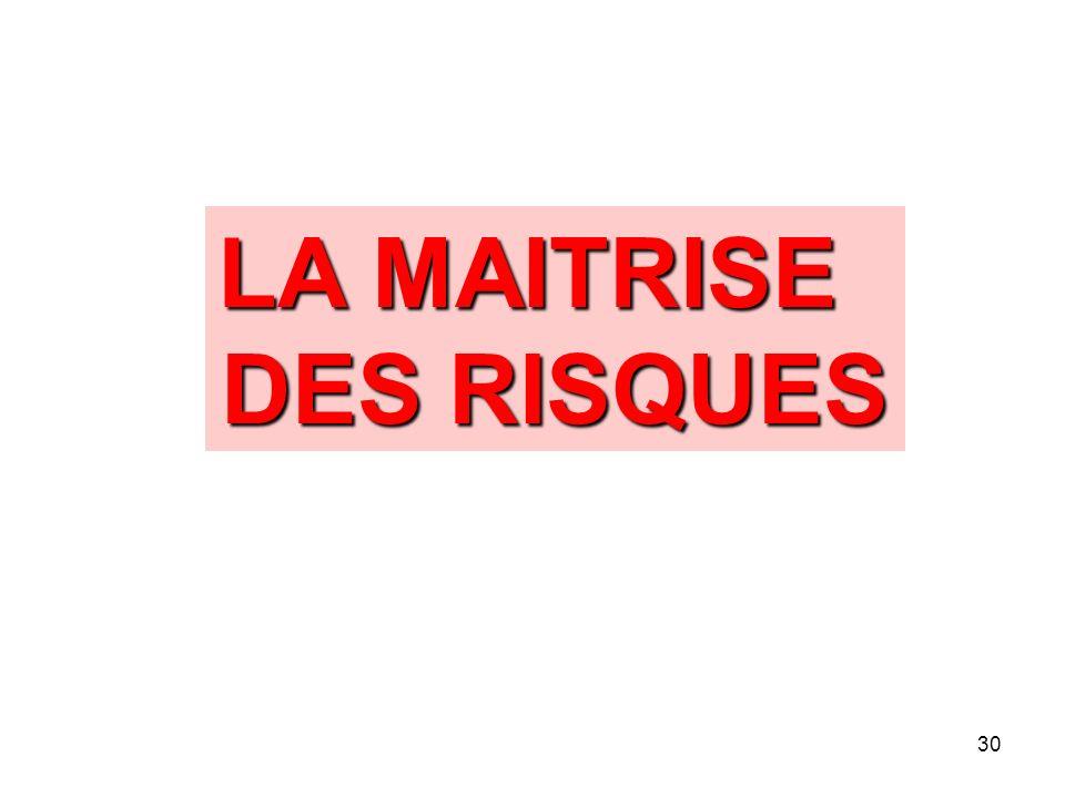 30 LA MAITRISE DES RISQUES