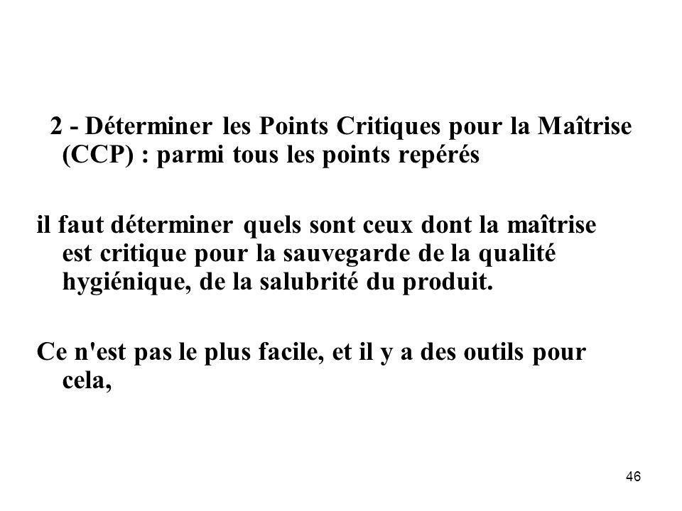 46 2 - Déterminer les Points Critiques pour la Maîtrise (CCP) : parmi tous les points repérés il faut déterminer quels sont ceux dont la maîtrise est