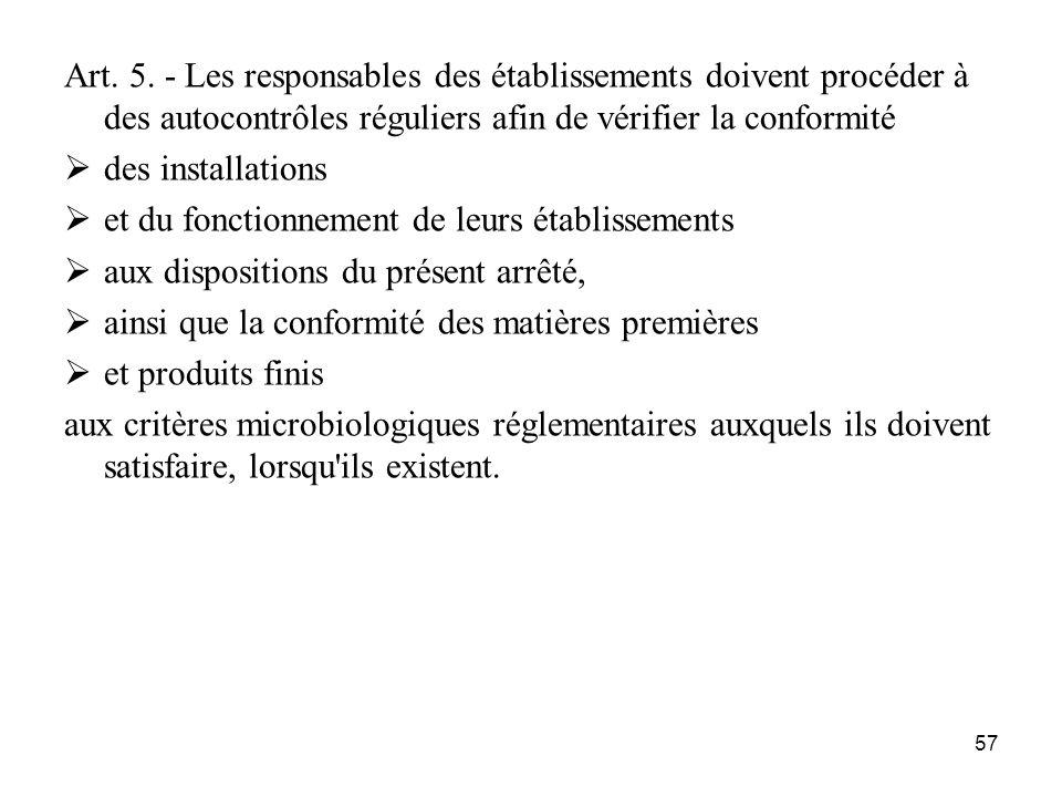 57 Art. 5. - Les responsables des établissements doivent procéder à des autocontrôles réguliers afin de vérifier la conformité des installations et du
