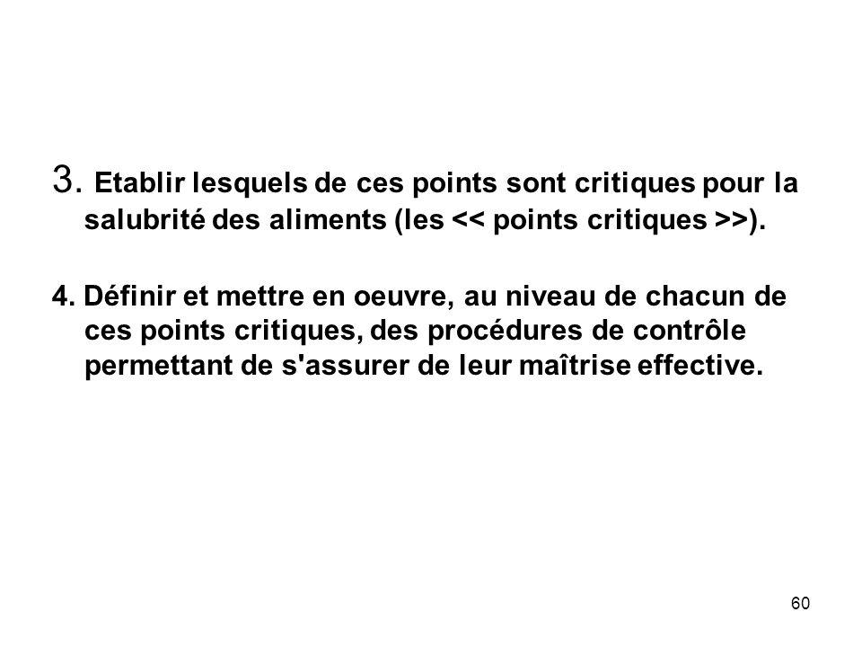 60 3. Etablir lesquels de ces points sont critiques pour la salubrité des aliments (les >). 4. Définir et mettre en oeuvre, au niveau de chacun de ces