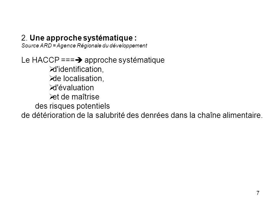 7 2. Une approche systématique : Source ARD = Agence Régionale du développement Le HACCP === approche systématique d'identification, de localisation,