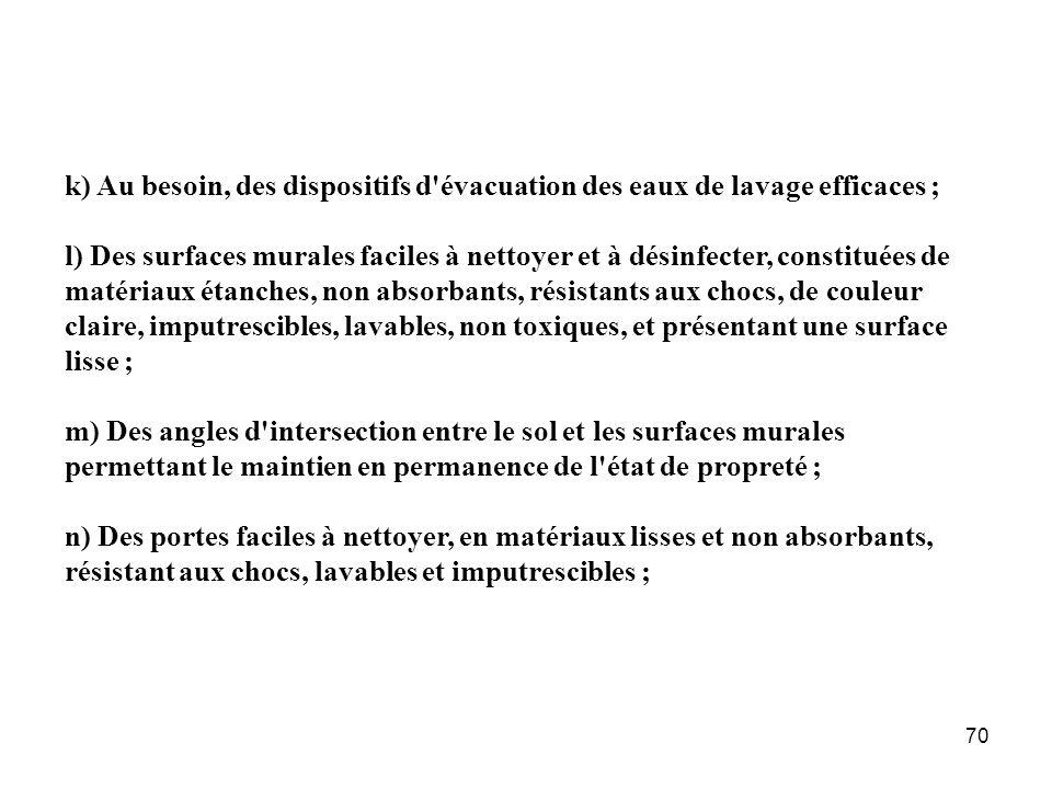 70 k) Au besoin, des dispositifs d'évacuation des eaux de lavage efficaces ; l) Des surfaces murales faciles à nettoyer et à désinfecter, constituées