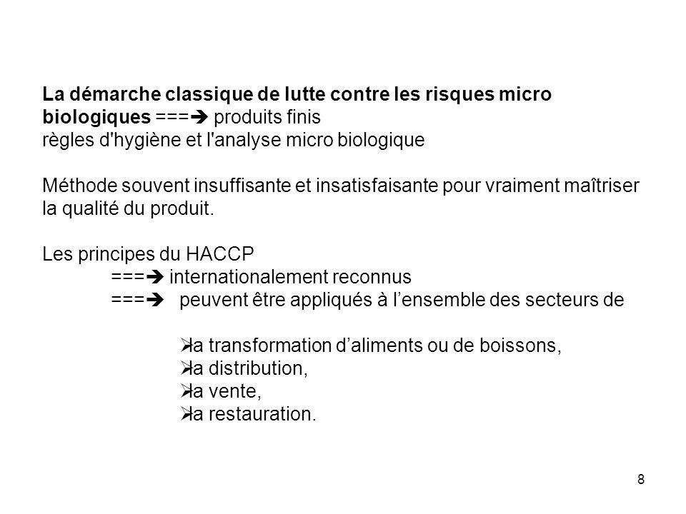 29 On ne s intéresse qu aux dangers encourus par le consommateur : HACCP ne se substitue pas au travail du CHS, ni à une démarche d amélioration des produits.