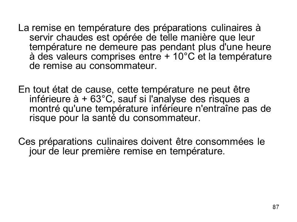 87 La remise en température des préparations culinaires à servir chaudes est opérée de telle manière que leur température ne demeure pas pendant plus