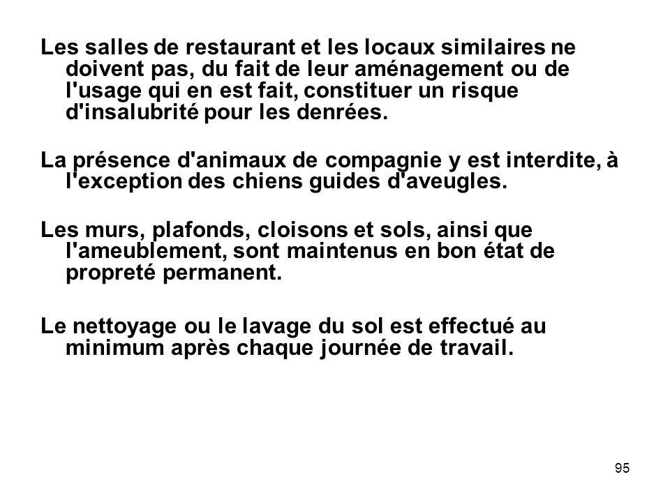95 Les salles de restaurant et les locaux similaires ne doivent pas, du fait de leur aménagement ou de l'usage qui en est fait, constituer un risque d
