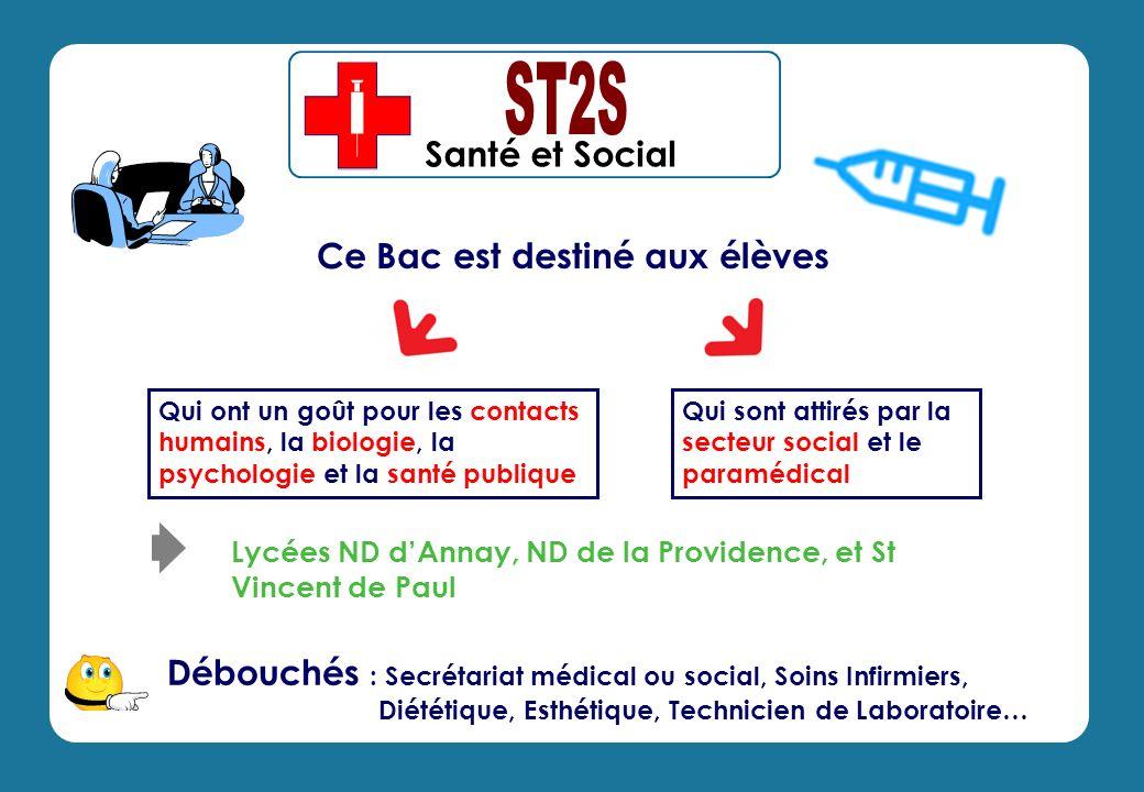Santé et Social Débouchés : Secrétariat médical ou social, Soins Infirmiers, Diététique, Esthétique, Technicien de Laboratoire… Qui sont attirés par l