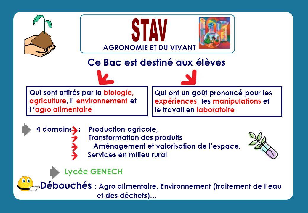 Ce Bac est destiné aux élèves Débouchés : Agro alimentaire, Environnement (traitement de leau et des déchets)… 4 domaines : Production agricole, Trans