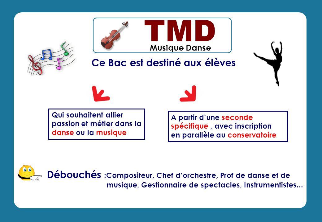 Musique Danse Ce Bac est destiné aux élèves A partir dune seconde spécifique, avec inscription en parallèle au conservatoire Qui souhaitent allier pas