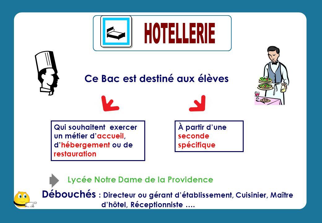 Ce Bac est destiné aux élèves Débouchés : Directeur ou gérant détablissement, Cuisinier, Maître dhôtel, Réceptionniste ….