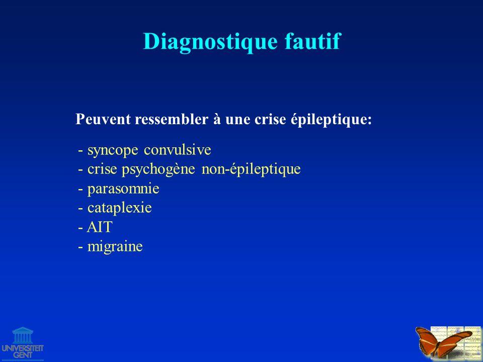 Diagnostique fautif traitement de crises généralisées traitement de crises focales
