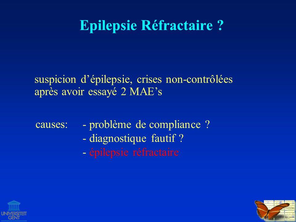 Options thérapeutiques pour épilepsie réfractaire: continuer traitement avec MAEs – diminishing returns chirurgie – résection / déconnection neurostimulation (VNS, DBS) régime Epilepsie Réfractaire