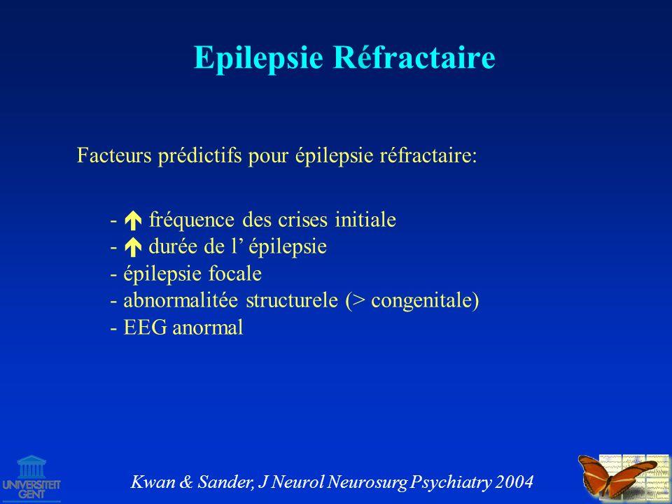 Options thérapeutiques pour épilepsie réfractaire: continuer traitement avec MAEs – diminishing returns chirurgie – résection curatif en 50 – 80 % des cas Epilepsie Réfractaire