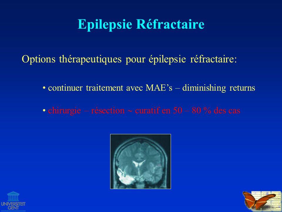 Candidats pour chirurgie résective: Epilepsie Réfractaire Sélection de bons candidats nécessite un bilan préchirurgical, effectué par une équipe multidisciplinaire bien entrainée - épilepsie focale et réfractaire - toutes les crises viennent de la même région du cerveau - resection dans cette region est possible