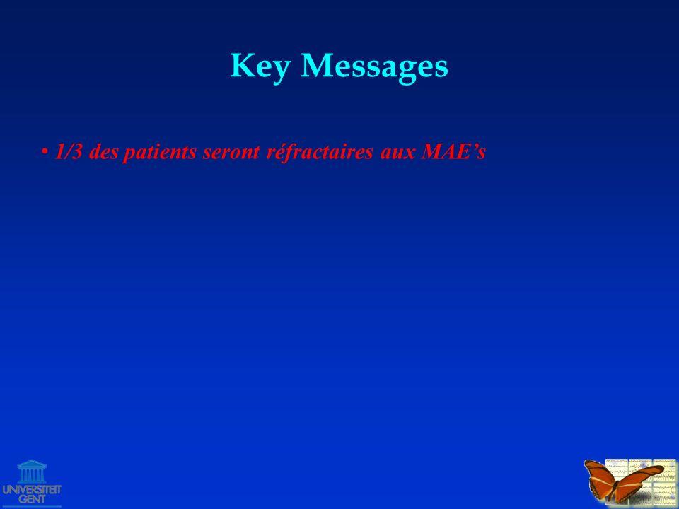 Key Messages 1/3 des patients seront réfractaires aux MAEs echec 2-3 MAEs: probabilitée de succes MAEs